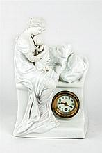 Early 20th.C continental porcelain mantel clock
