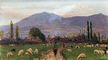 Antique Spanish School. Road with sheeps
