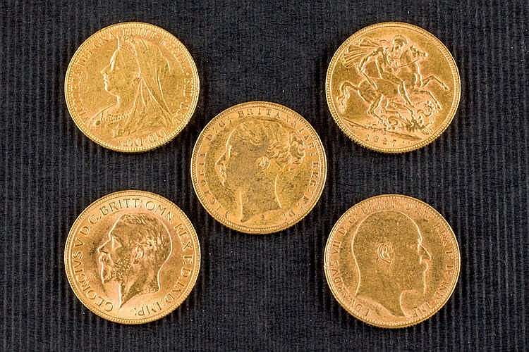 13 pound gold coins 1875-1931. To be examinated