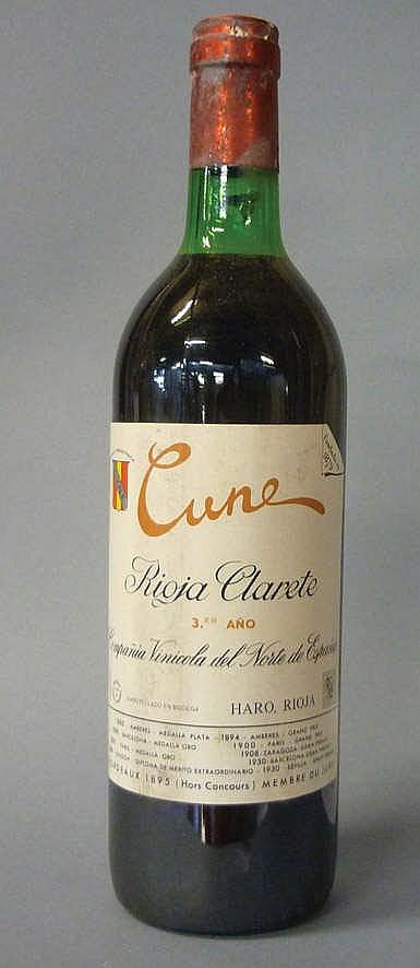 12 bottles Rioja Cune Clarete 3º Año