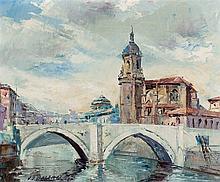 *Balenciaga. Church in front of the river