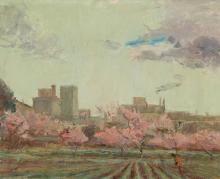 """FREIXAS CORTES, JORDI (1917 - 1984). """"Árboles floridos. Lloret de Mar"""". Óleo sobre lienzo. Firmado en el ángulo inferior derecho. Al dorso: firmado, titulado y fechado (MCMXCII). 33 x 41 cm"""