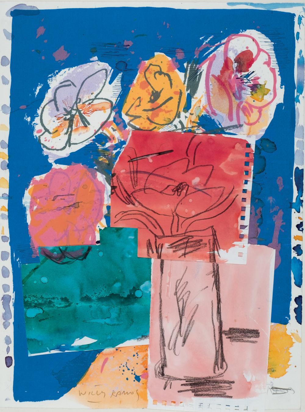 """RAMOS, WILLY (1954). """"Flores"""". Acuarela, tinta china, gouache y ..."""