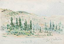 Tomás Campuzano. Landscape with cypresses