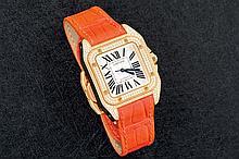 Cartier Santos 100 ladies gold and diamond watch