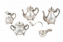 A silver coffee and tea set