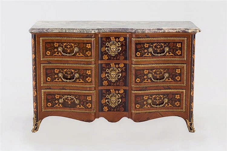 A Luis XIV style marquetry chest
