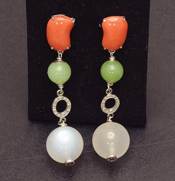 White gold earrings with coral, moon stone, etc