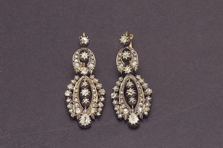 19th C. earrings with diamonds