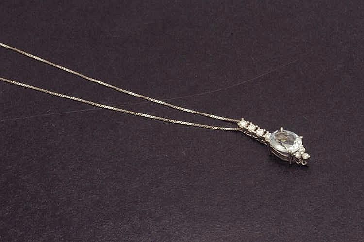 Aquamarine and diamond pendant