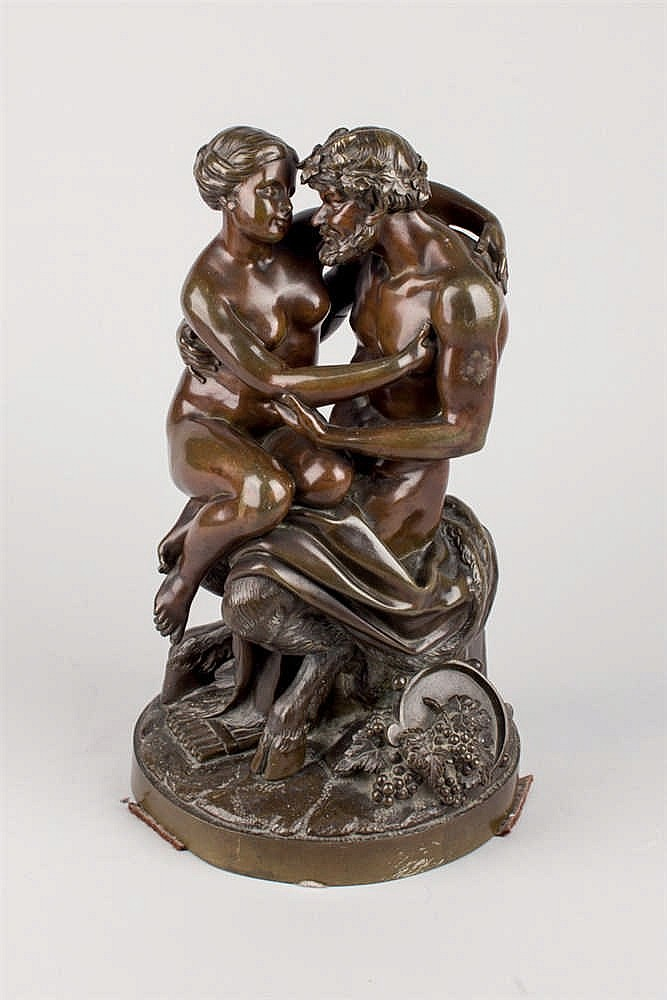 French School. 19 th C. Nimph and Satyr