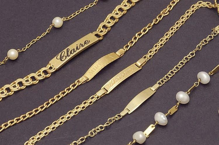 Six gold bracelets