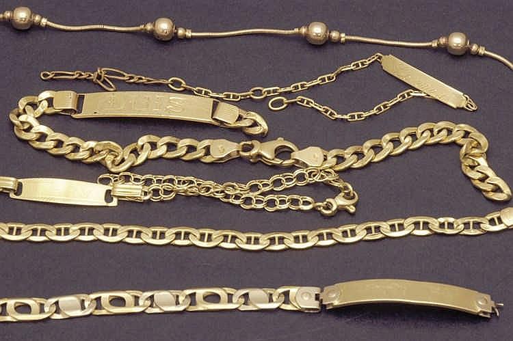 Six  bracelets 18 K. gold