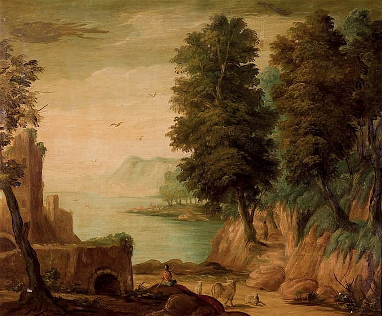 European School, 19th C. Landscape with ruins