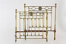 An early  20 thC Spanish iron and brass bed
