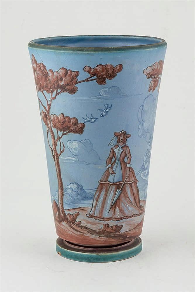 A Spanish Talavera ceramic vase