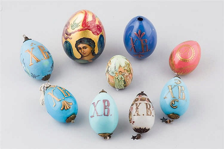 A set of nine Russian Easter egg