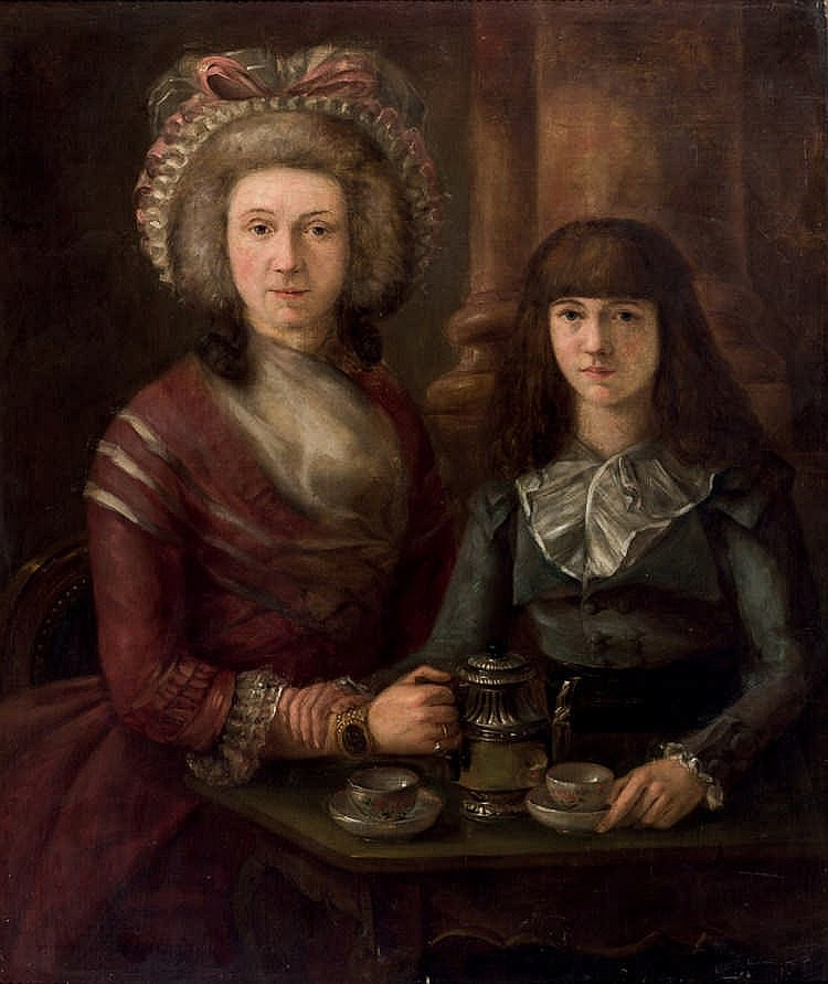 19th C. European School. Mother and daughter