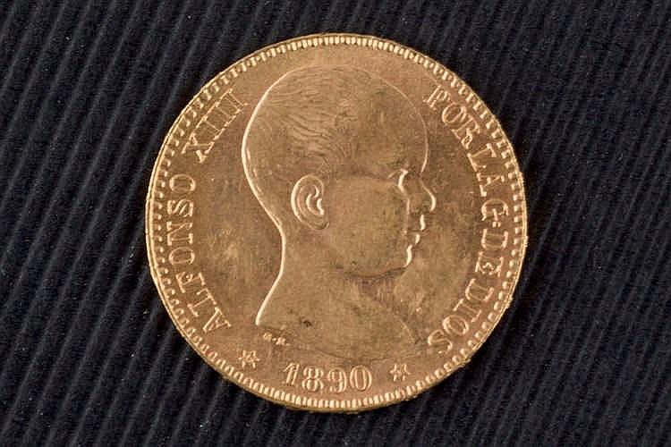 20 pesetas.. Alfonso XIII. 1890. Gold