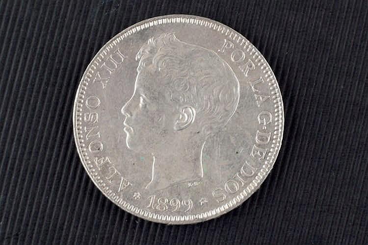 5 pesetas. Alfonso XIII. 1899