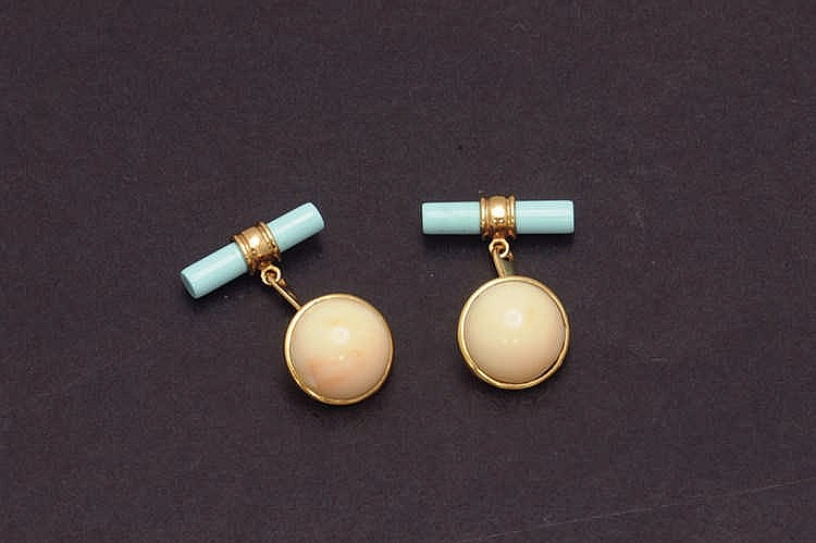 Turquoise, coral rose gold cufflinks