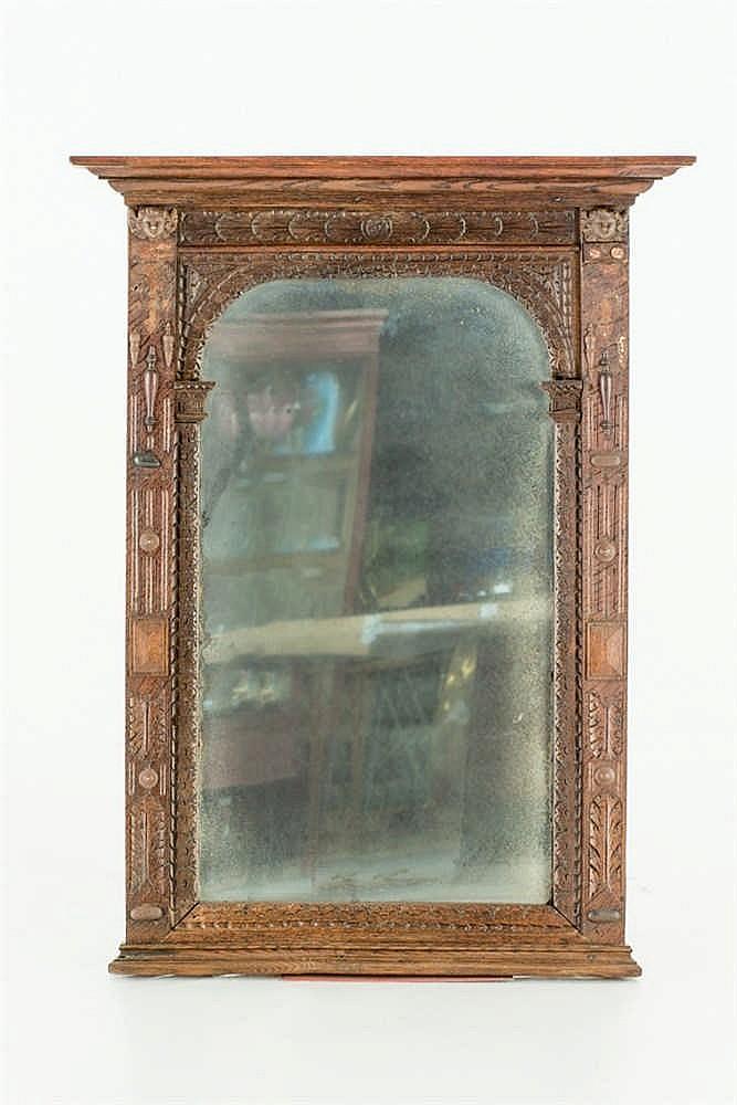 An old oak wall mirror