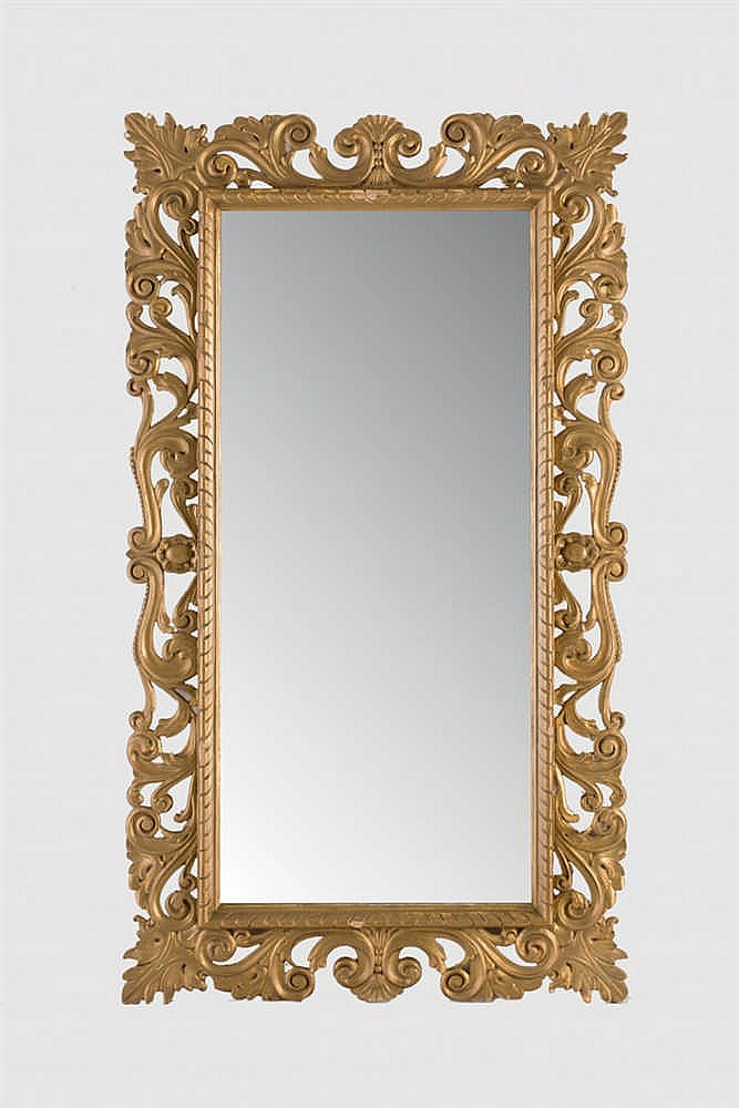 A gilt wood wall mirror
