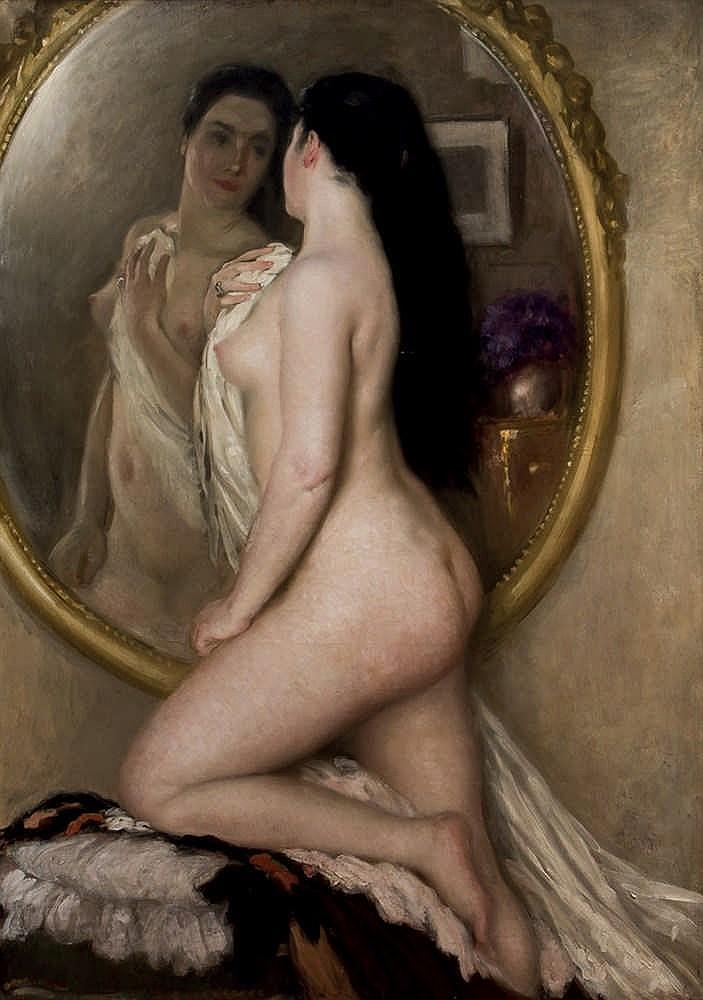 Henry Caro-Delvaille. La Brune au miroir