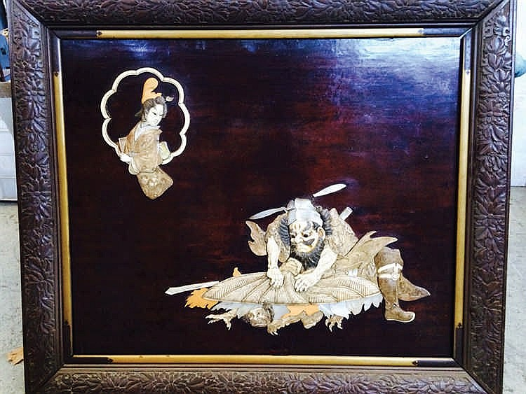 A j19th. C japanese lacquered wood panel