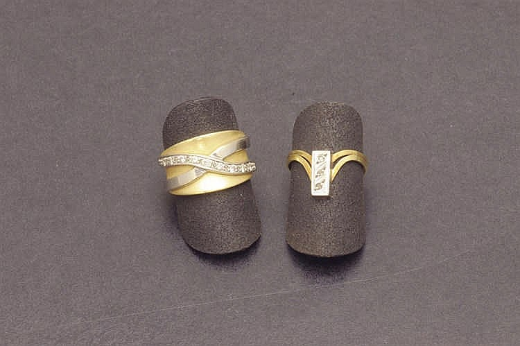 Two bicolor diamond rings