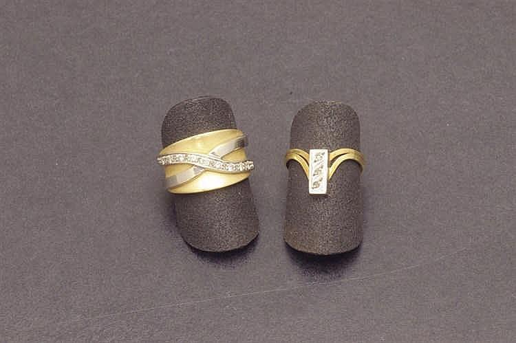 Two bicolor diamond rings
