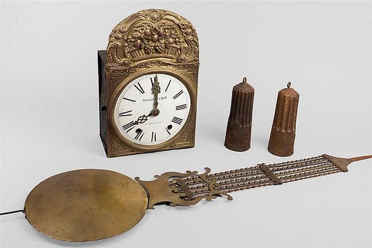 A late 19th.C Morez brass wall clock