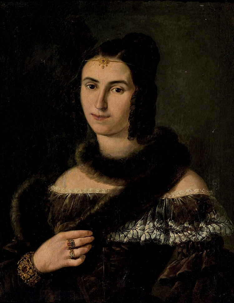 Spanish 19 th C. School. Portrait of a Lady