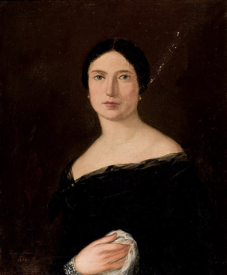 19th C Spanish School. POrtrait of a lady