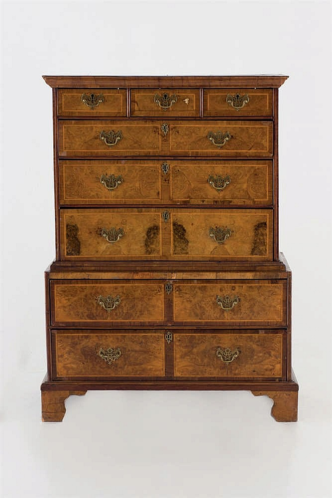 A 19th.C georgian walnut an burr walnut tallboy