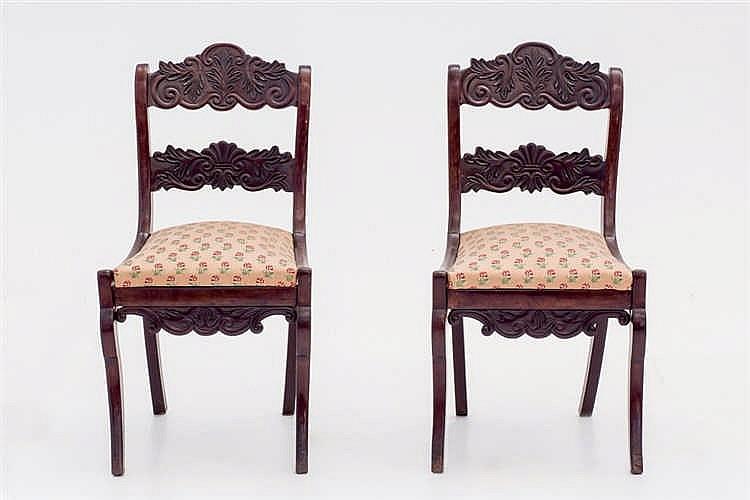 A 19 th. C Spanish mahogany chairs