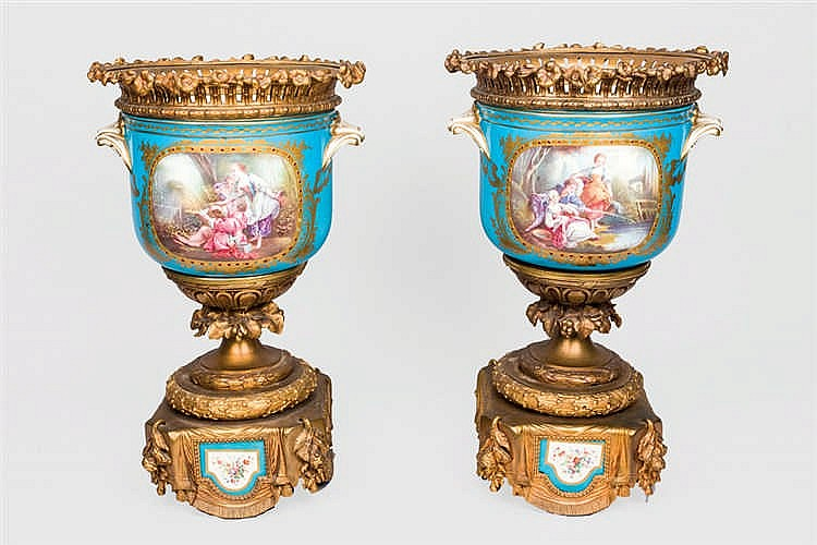 A  19th, C pair of Sèvres style porcelain. S. XIX