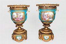 A  19th, C pair of Sèvres style porcelain. S. XIX
