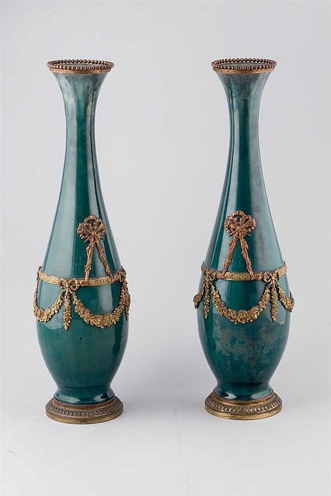 A pair of Luis XVI style european faïence vases