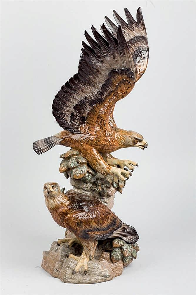 A Lladró Stoneware figure representing 2 eagles