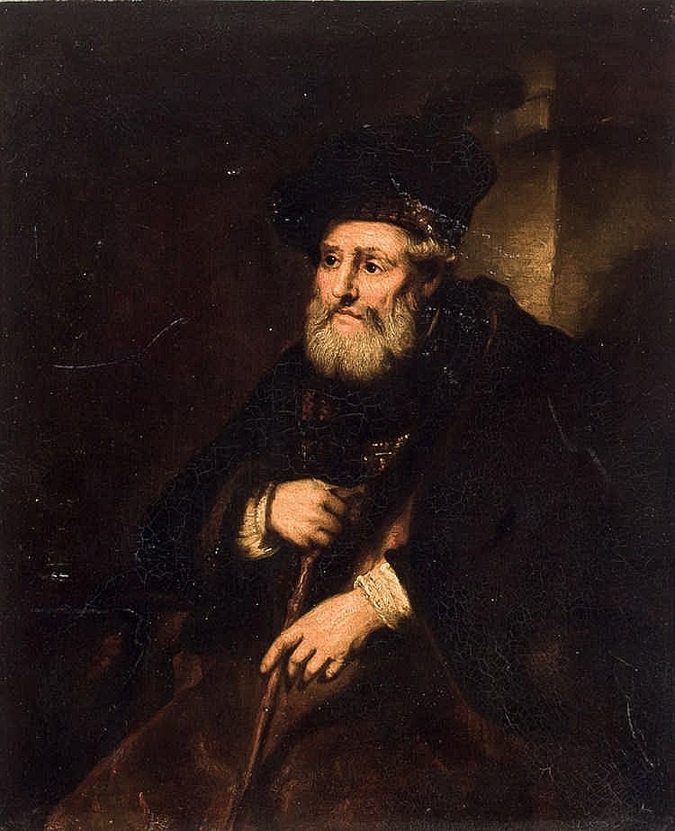 19 th C. Flemish School. Portrait of old man