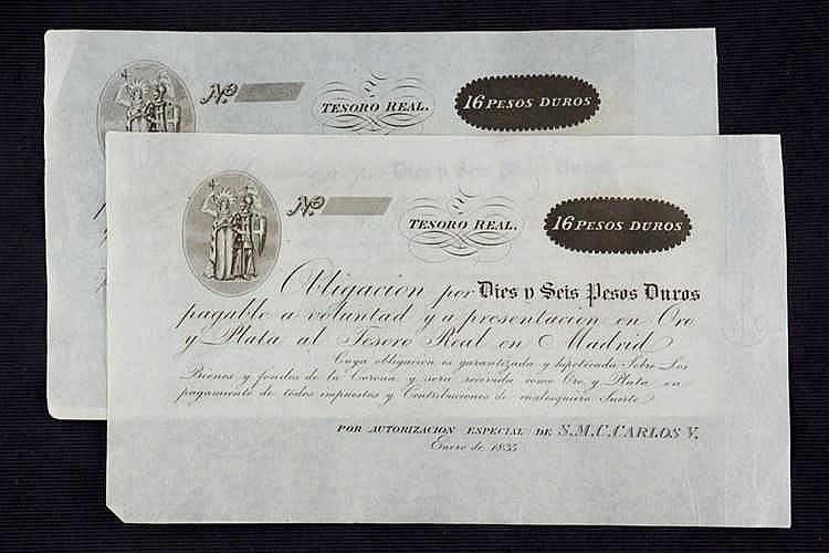 A pair of 16 pesos duros carlistas bills. 1835
