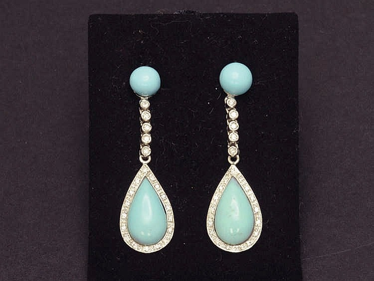 White gold turquoise and diamond earrings