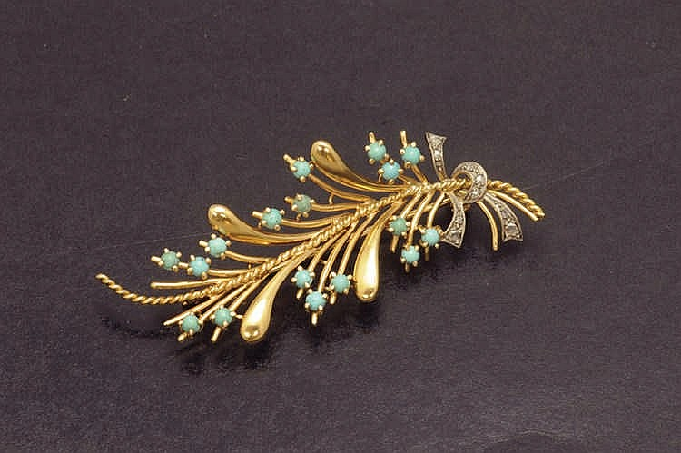 Turquoise and diamond brooche