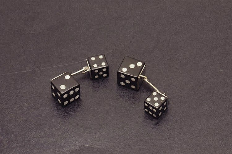 Onix and gold cufflinks dices