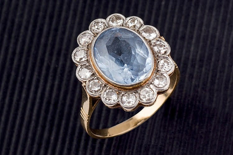 Blue stone and diamond ring