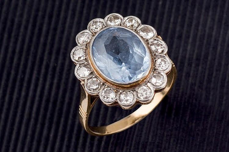 Blue stone and diamond ring