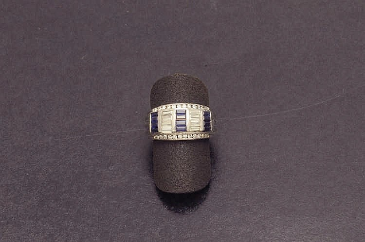 White gold sapphire and diamond