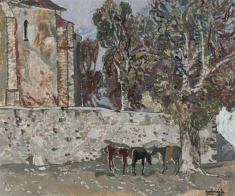 Agustín Redondela. Church with trees