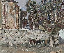 Agustín Redondela. Church with trees